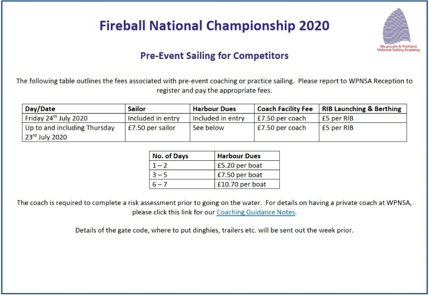 More information on Pre-Nationals sailing & possible training